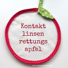 Kontaktlinsenrettungsnetz in Apfelform - genäht von (c) www.schoenstebastelzeit.de