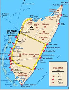 Ready to head off to Cozumel and do some great diving? We have some Cozumel maps for you. The most fun is the interactive Cozumel map. Cozumel Excursions, Cozumel Beach, Cozumel Cruise, Cozumel Island, Cruise Port, Cruise Tips, Cruise Travel, Cruise Vacation, Viajes