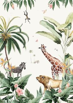 kinderkamer behang jungle SANNY & CHARLIE by Creative Lab Amsterdam at the Behangfabriek official retailer for worldwide shipping Jungle Room, Jungle Nursery, Room Wall Painting, Mural Wall Art, Animal Room, Baby Clothes Dividers, Baby Boy Nursery Themes, Creative Labs, Skateboard Design