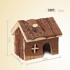 Amazon.com : Natural Wooden House Wood Hut Living Habitat for Hamsters Mouse and other Small Furry Animals : Pet Supplies