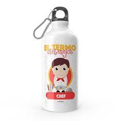 Termo - El termo del mejor chef, encuentra este producto en nuestra tienda online y personalízalo con un nombre. Water Bottle, Drinks, Carton Box, Pintura, Art, Store, Crates, Drinking, Beverages