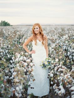 Bridal photos in a cotton field. by Brushfire Photography. See more ----- > http://www.thebridelink.com/blog/2014/03/24/cotton-field-wedding-at-the-windmill-winery/