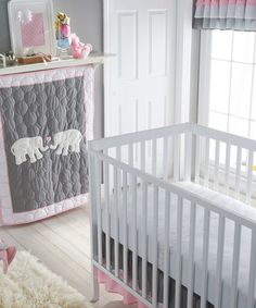 Another great find on #zulily! Pink & Gray Parade Crib Bedding Set #zulilyfinds