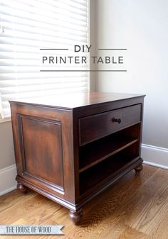 Build your own beautiful DIY printer table with a drawer and adjustable shelf with free plans by Ana-White.com and a step-by-step tutorial by Jen Woodhouse.