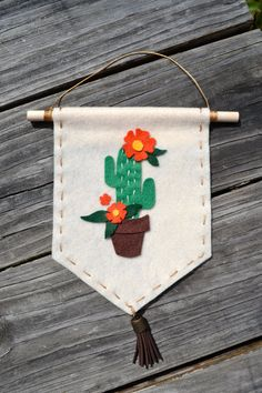 Felt Cactus Banner Cream and Orange by MissOhDarling on Etsy
