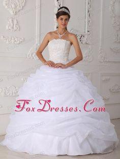 Designer White Lace Quinceanera Dress Strapless Organza