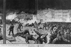 """Chicago Haymarket Affair- ...everywhere slogans were heard like  """"Eight Hours for Work, Eight Hours for Rest,Eight Hours for What We Will!"""" or  """"Shortening the Hours Increase the Pay"""". (...)On May 1, 1886,reportedly 80,000 workers marched up Michigan Avenue(...)In Chicago, labor leaders  were rounded up, houses were entered  without search warrants and union newspapers were closed down."""
