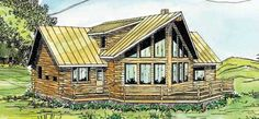 A Frame house plan the Aspen is a 1987 sq ft, 2 story, 3 bedroom, bathroom log home floor plan design with loft and wrap around porch by Associated Designs. Chalet and cottage home plans. Quality A-Frame house plans, floor plans and blueprints. Log Home Floor Plans, Basement House Plans, A Frame House Plans, Small House Plans, Contemporary Style Homes, Contemporary House Plans, Home Design Plans, Plan Design, Zeina