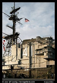 Island superstructure, USS Midway aircraft carrier. San Diego, California, USA