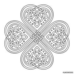 Lucky four leaf clover in the Celtic style, isolated on white vector illustration Mandala Art, Celtic Mandala, Celtic Art, Celtic Dragon, Mandala Coloring, Colouring Pages, Celtic Tattoos, Celtic Clover Tattoos, Wiccan Tattoos