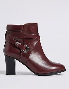 Wide Fit Leather Block Heel Ankle Boots | M&S