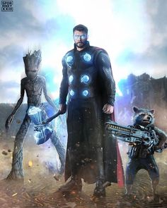 Thor's epic entrance in Wakanda with Rocket Racoon and Groot Marvel Avengers, Marvel Comics, Marvel Fan Art, Marvel Memes, Deadpool Comics, Rocket Raccoon, Thor Wallpaper, Mundo Marvel, X Men