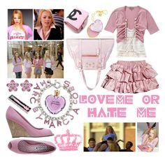 Love Me Or Hate Me I'm Regina George by polikkia on Polyvore featuring polyvore, fashion, style, Marc by Marc Jacobs, Swarovski, Vera Wang, TIARA, George, Fendi, clothing, music, pink, marc jacobs, mean girls and fendi