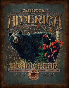 Black Bear Outdoor America Painting