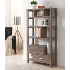 Furniture of America Durren Multi-functional Display Shelf (295 AUD) ❤ liked on Polyvore featuring home, furniture, storage & shelves, brown, modern display shelf, modern shelf, tiered shelves, display shelves and brown shelves