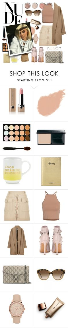 """nude pallet"" by jasmimestefany ❤ liked on Polyvore featuring Marc Jacobs, Terre Mère, Giorgio Armani, Jil Sander, Smashbox, Fringe, Harrods, NLY Trend, Surface To Air and Valentino"