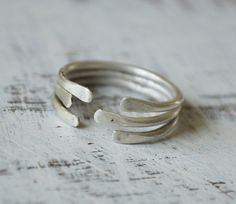 sterling silver fused stacking rings - open - adjustable - minimalist