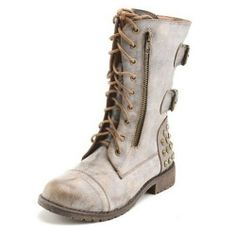 Taupe Studded Laceup Military Inspired Boots. #Fall #Winter #Fashion #outfit #shoes