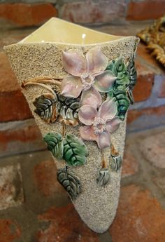 Antique French Majolica Barbotine Wall Pocket Flower Vase Art Nouveau Pink in Antiques, Decorative Arts, Ceramics & Porcelain   eBay