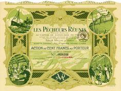 Les Pecheurs Réunis, Paris, 1 November 1920(?), Action de 100 Francs, #39731, 23 x 31.1 cm, green, olive, blue, coupons, horizontal fold, otherwise EF, superb design with maritime scenes and great wave in underprint.