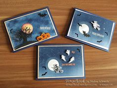 Stampin UP! Spooky Fun, Halloween, Edgelits Halloween Szenerie, Kürbisgelb, Marineblau, Flüsterweiß
