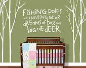 "Tree Decal Nursery - Tree Decal - Hunting Wall Decal - Fishing Wall Decal - Fishing Decal - Wall Decals Nursery Vinyl Decal 96"" x 108"""