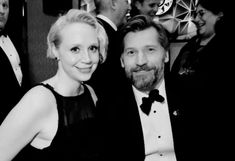 Gwendoline Christie and Nikolaj Coster-Waldau at HBO's Golden Globe Awards after party, January 7, 2018.