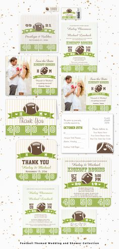 Cute football themed wedding invitations, bridal shower and couples shower invites, engagement party invitations and matching photo save the dates, thank you cards, party favor labels, address stickers and more. They can be monogrammed in a team jersey font with the initials of the bride and groom. Some invitations can also be personalized on the back with the new couple's last name and year of marriage in a team jersey style. Artwork © Chrissy H. Studios, LLC. All rights reserved.