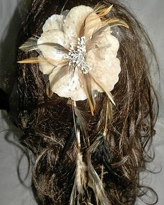 Flower Hair Fascinator Clip Feather Extension Leather Ivory Pearls