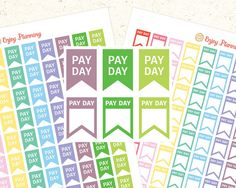 Pay Day Printable Planner Stickers Flag Pay Day Stickers Flag Planner Stickers Pay Day Printable Pay Day Flag Rainbow Stickers Flag sticker