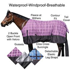 We love our Dura-Tech® AQUANON JUNIOR Turnouts. Keep your pony worm and cozy in this 600d ripstop outercover. Blanket is waterproof, windproof and breathable, blanket features include: traditional Euro fit-no back seam, fleece at withers, two buckle open front with Velcro closure assist, gussets, criss cross surcingles, detachable leg straps, tail cover and a contour fit. Available in heavyweight, midweight  or sheet. Neck cover available. Available in purple, blue or grey plaid. SSTACK.com
