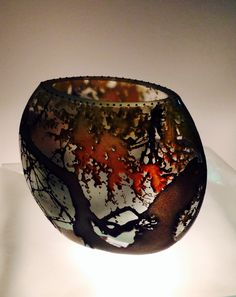 Carved and handprinted glass vessel by Mary Melinda Wellstandt at altamiragallery.com