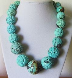Huge Old Vintage Chinese Carved Turquoise Beads Necklace 18 034 to 27m August Sale | eBay