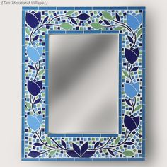 Blue BlossomMosaic Mirror 10 k villages - guest bath Mirror Mosaic, Mosaic Wall, Mosaic Glass, Mosaic Tiles, Stained Glass Birds, Stained Glass Panels, Fused Glass, Mosaic Crafts, Mosaic Projects