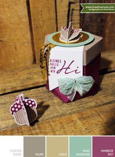 Kreativersum, Stampin' Up!, Fünfeckbox mit dem Stanz- und Falzbrett für Geschenktüten, Herbstgrüße, Eichel, Flüsterweiß, Taupe, Gold, Minzmakrone, Himbeerrot, Herbst