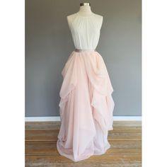 39965ced1e05de Asymmetrical bridal skirt, winter melon over champagne chiffon maxi skirt,  wedding dress Beaded Wedding