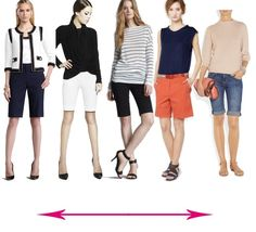 How to wear bermuda shorts, from dressy to casual. Mine must taper to the knee. Summer Fashion For Teens, Spring Fashion Outfits, Spring Summer Fashion, Summer Outfits, Short Outfits, Trendy Outfits, Bermuda Shorts Outfit, City Shorts, Long Shorts
