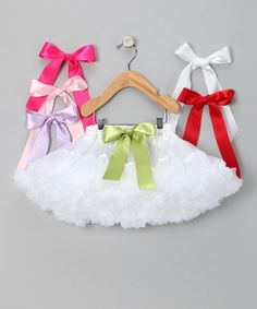 Take a look at this White Pettiskirt & Bow Set - Infant by Blow-Out on #zulily today! How clever for a #fall dancing class, to be able to change the color with a simple bow at the waist.