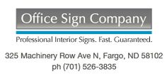 Engraved office signs in virtually any color including brushed metals like brass and silver name plates. Contemporary corporate office signs.