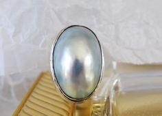 HUGE Vintage Sterling Silver 925 Modernist Gray Mabe Pearl Handmade Ring #Handmade #Cocktail