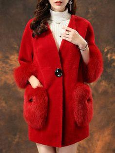 Plain Patch Pocket Single Button Faux Fur Coat