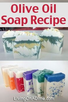 This homemade olive oil soap recipe is easy to make with just a few ingredients. It makes a wonderfully moisturizing and luxurious bar of soap! Diy Savon, Savon Soap, Soap Making Recipes, Homemade Soap Recipes, Olive Oil Soap, Soap Making Supplies, Lotion Bars, Homemade Beauty Products, Cold Process Soap