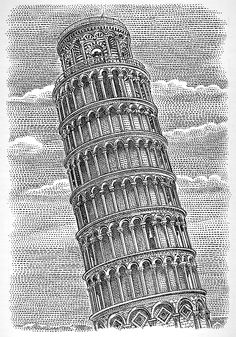 """The Art of Demotivation - The Leaning Tower stippled for the chapter heading - Mediocrity. """"It takes a lot less time and most people won't notice the difference until it's too late. Architecture Concept Drawings, Art And Architecture, Stippling Art, Pointillism, Art Drawings Sketches, Book Illustration, Vector Art, Towers, Artwork"""