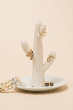 White Cactus Ring Holder #francescas