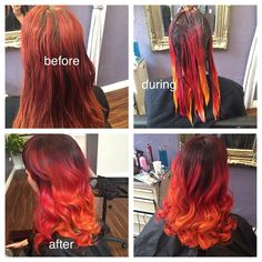 Faded red to deep brown with magenta, orange, and yellow pravana vivids color melt