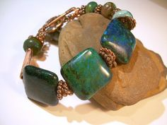 Forest Night  Gemstone And Copper Bracelet by JewelFireDesigns