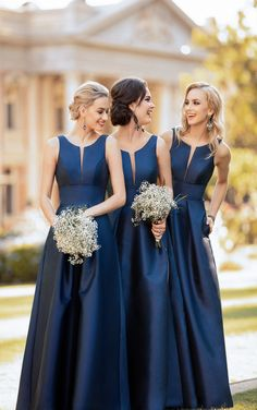 Charming Blue Satin Long Bridesmaid Dress,Sleeveless Cheap Bridesmaid Dress on Storenvy