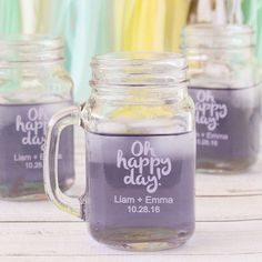 Need a wedding favor idea? How about these Personalized Printed Mason Jar Mugs?