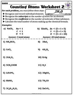 Worksheet Counting Atoms Version B Chemistry Worksheets