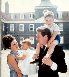 Princess Margaret and Lord Snowdon with their children, David and Sarah, at Kensington Palace, 1965